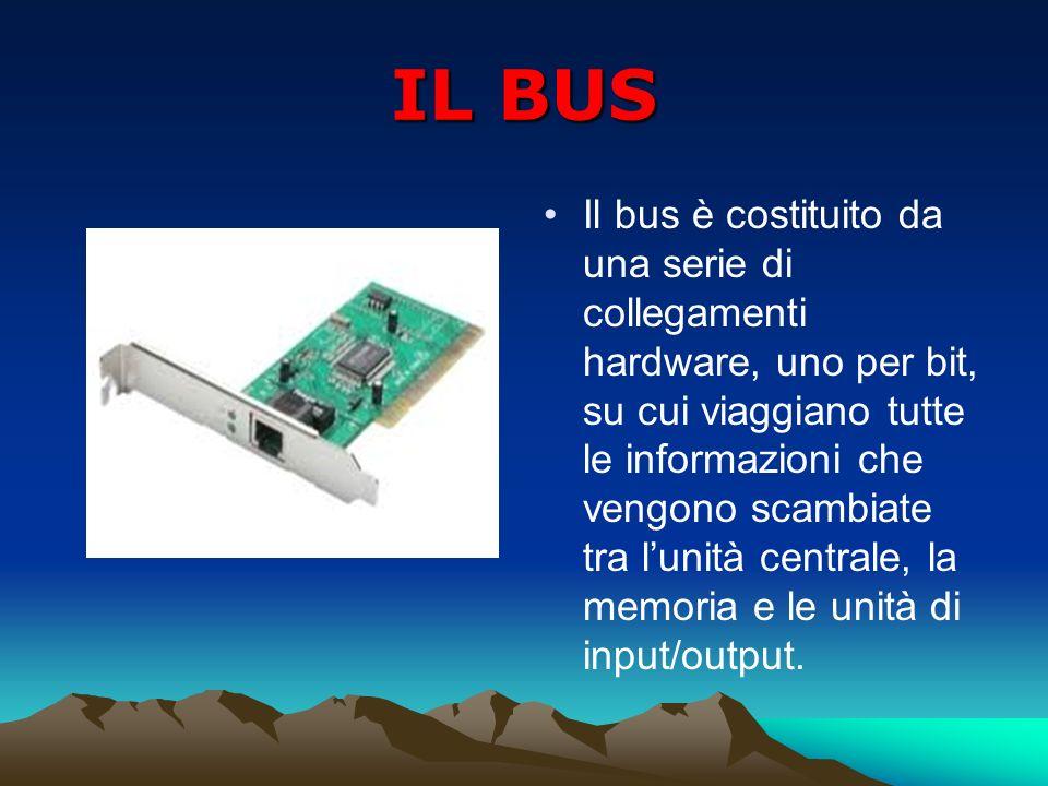 IL BUS Il bus è costituito da una serie di collegamenti hardware, uno per bit, su cui viaggiano tutte le informazioni che vengono scambiate tra lunità