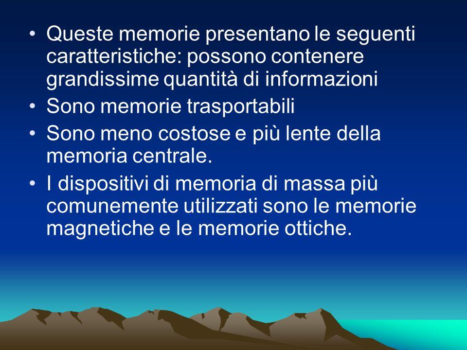 Queste memorie presentano le seguenti caratteristiche: possono contenere grandissime quantità di informazioni Sono memorie trasportabili Sono meno cos