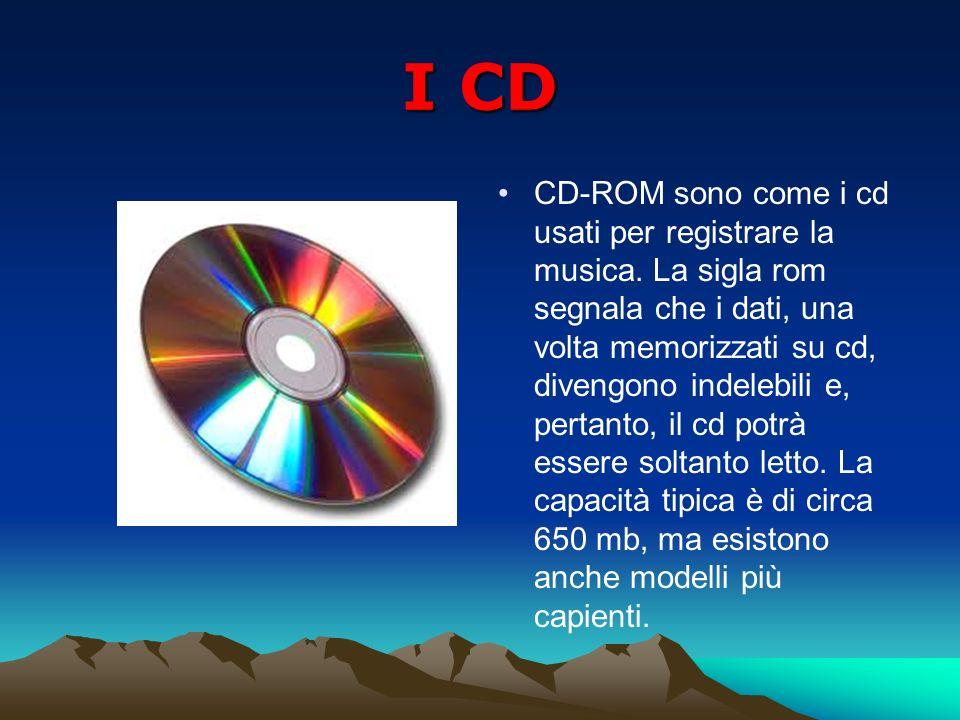I CD CD-ROM sono come i cd usati per registrare la musica. La sigla rom segnala che i dati, una volta memorizzati su cd, divengono indelebili e, perta