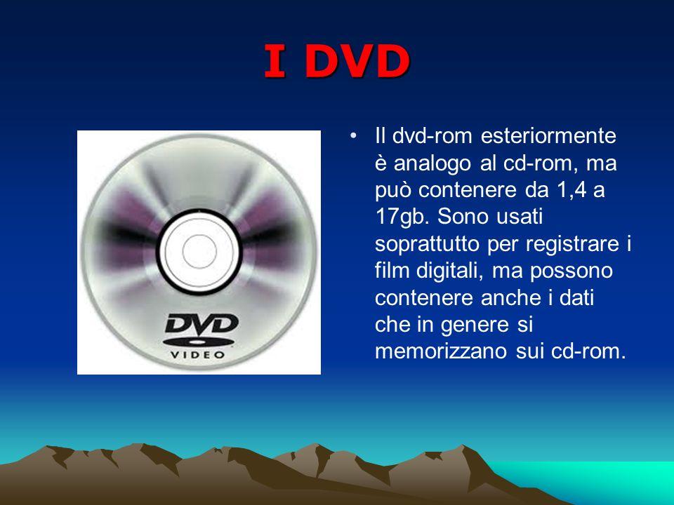 I DVD Il dvd-rom esteriormente è analogo al cd-rom, ma può contenere da 1,4 a 17gb. Sono usati soprattutto per registrare i film digitali, ma possono