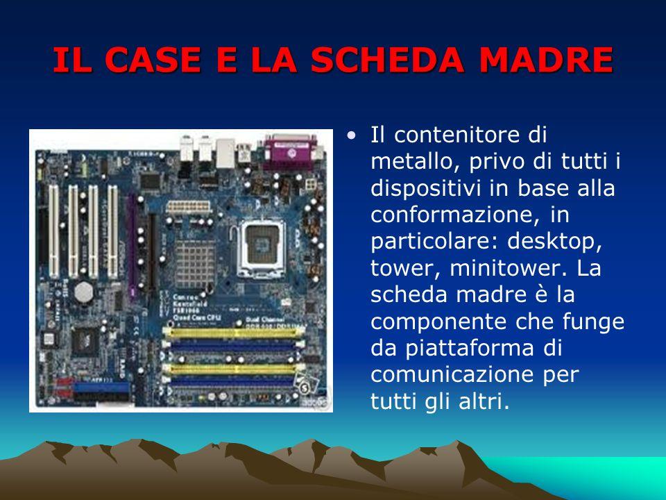 IL CASE E LA SCHEDA MADRE Il contenitore di metallo, privo di tutti i dispositivi in base alla conformazione, in particolare: desktop, tower, minitowe