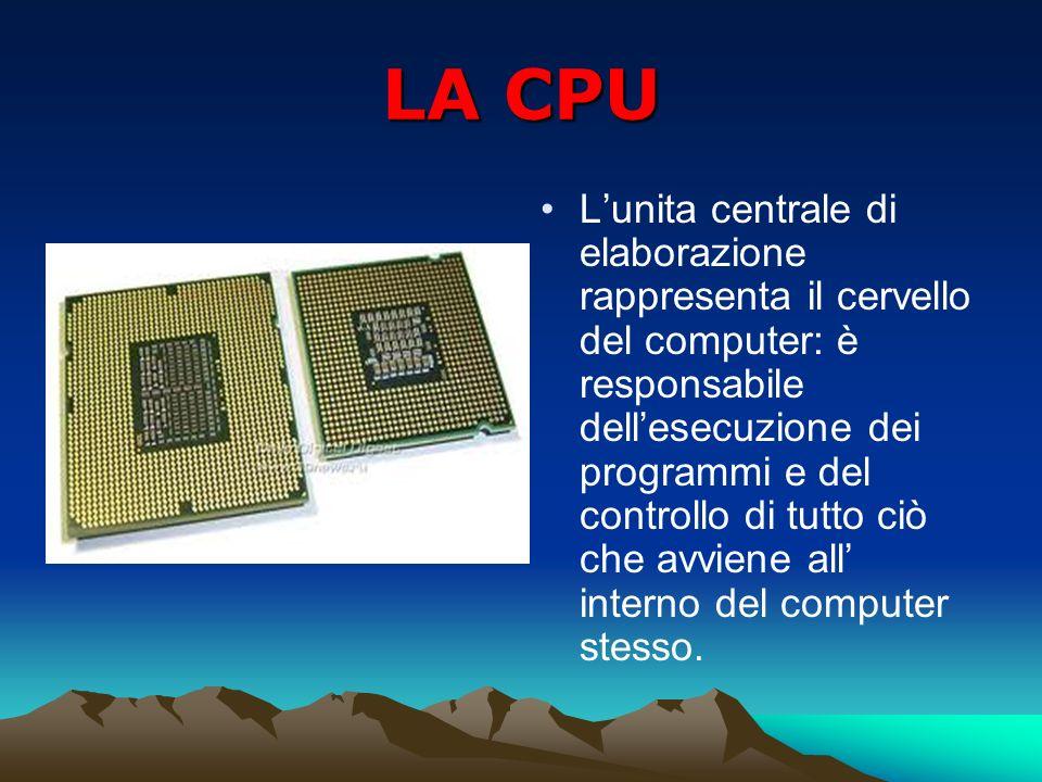 LA CPU Lunita centrale di elaborazione rappresenta il cervello del computer: è responsabile dellesecuzione dei programmi e del controllo di tutto ciò