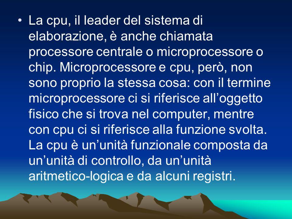 La cpu, il leader del sistema di elaborazione, è anche chiamata processore centrale o microprocessore o chip. Microprocessore e cpu, però, non sono pr