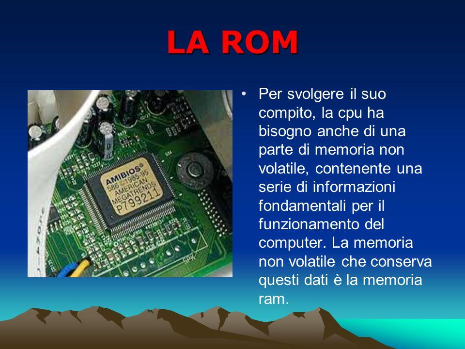 LA ROM Per svolgere il suo compito, la cpu ha bisogno anche di una parte di memoria non volatile, contenente una serie di informazioni fondamentali pe