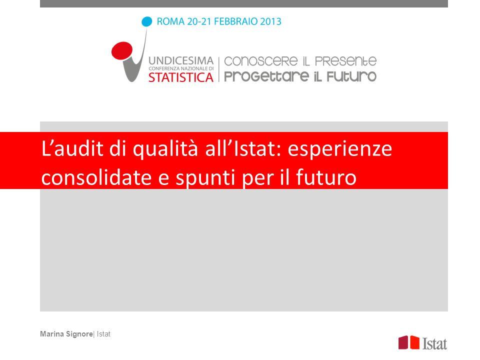 Laudit di qualità allIstat: esperienze consolidate e spunti per il futuro Marina Signore| Istat