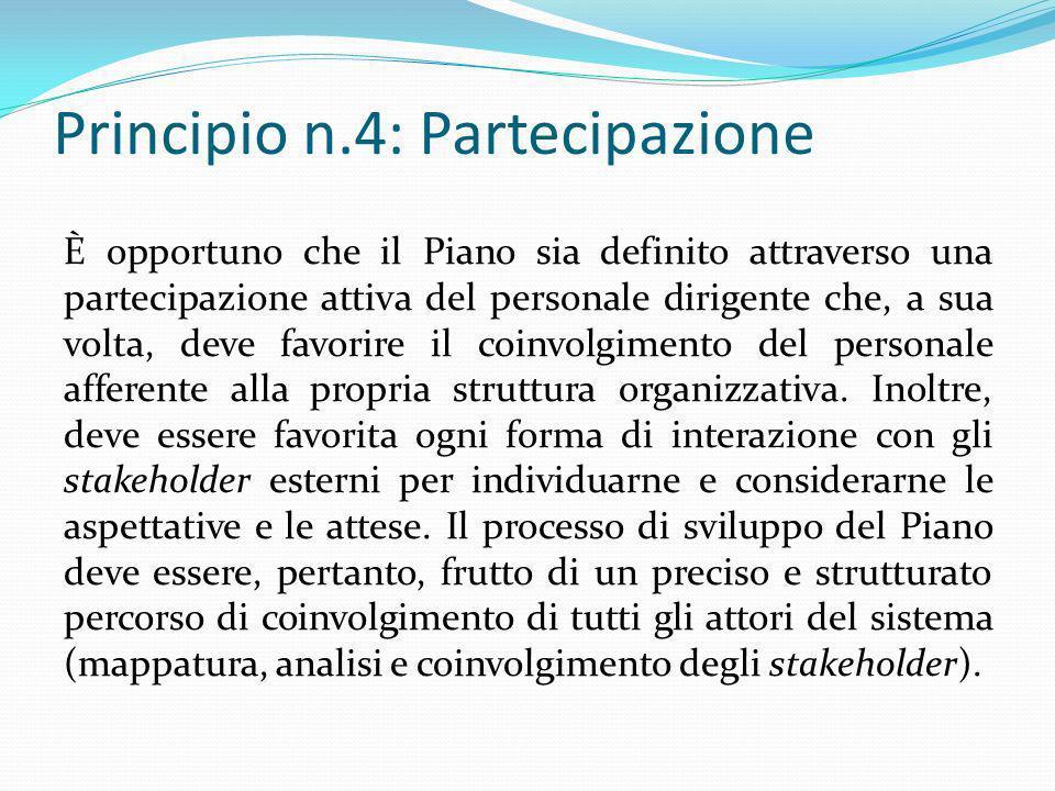 Principio n.4: Partecipazione È opportuno che il Piano sia definito attraverso una partecipazione attiva del personale dirigente che, a sua volta, dev