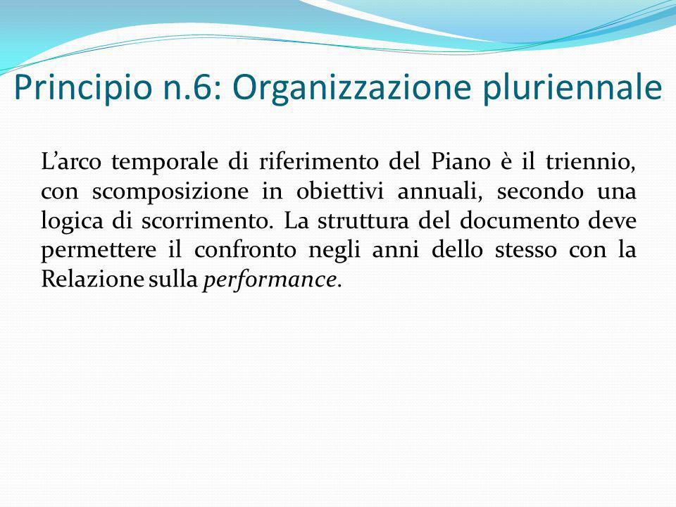 Principio n.6: Organizzazione pluriennale Larco temporale di riferimento del Piano è il triennio, con scomposizione in obiettivi annuali, secondo una