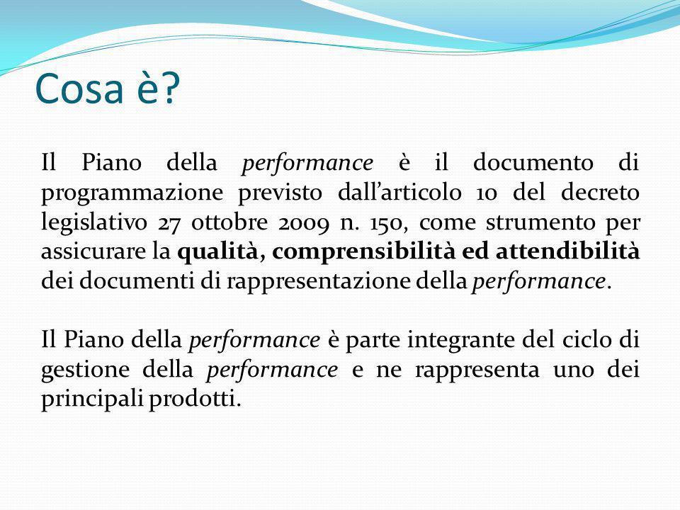 Cosa è? Il Piano della performance è il documento di programmazione previsto dallarticolo 10 del decreto legislativo 27 ottobre 2009 n. 150, come stru