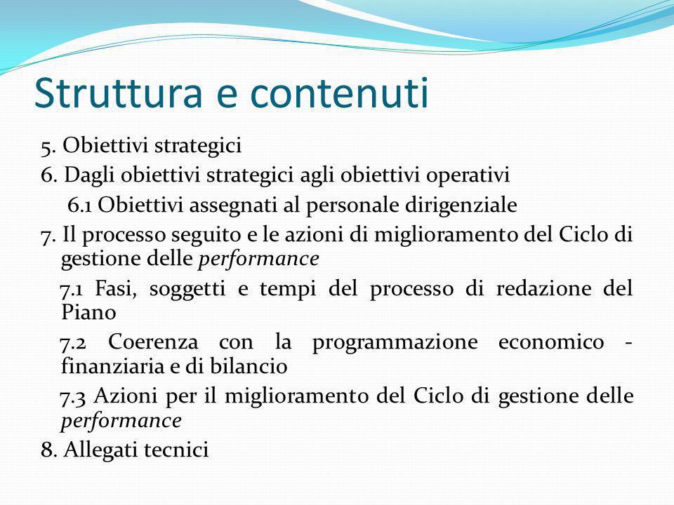Struttura e contenuti 5. Obiettivi strategici 6. Dagli obiettivi strategici agli obiettivi operativi 6.1 Obiettivi assegnati al personale dirigenziale