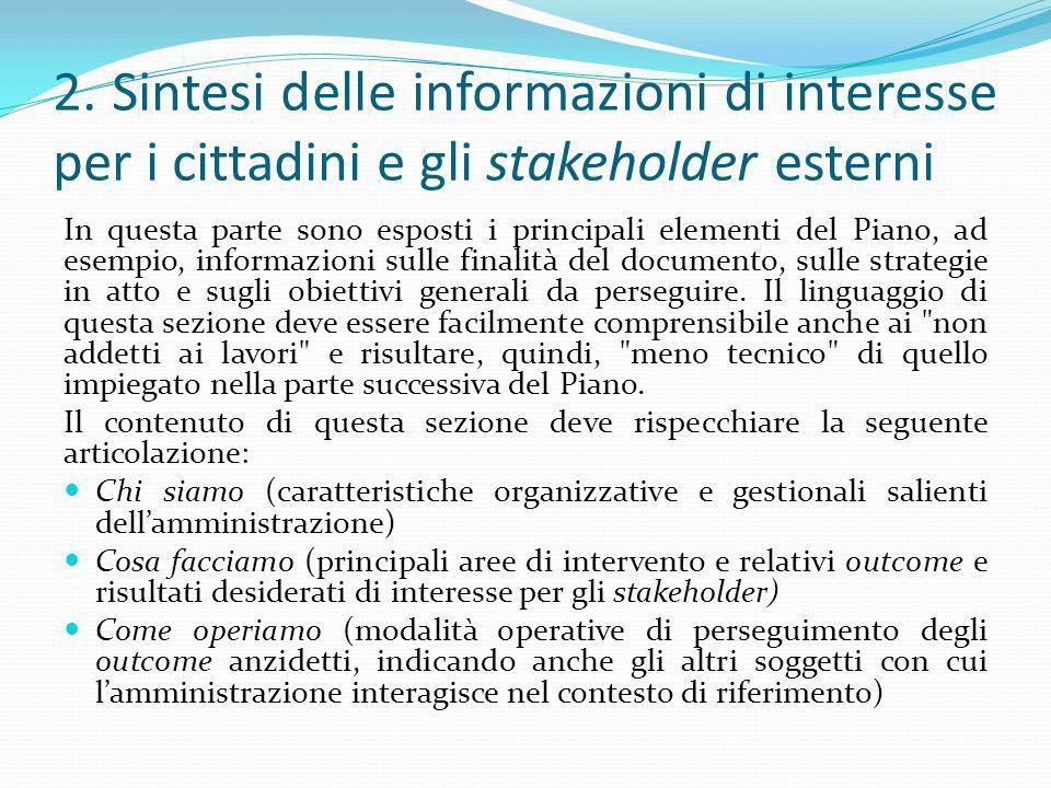 2. Sintesi delle informazioni di interesse per i cittadini e gli stakeholder esterni In questa parte sono esposti i principali elementi del Piano, ad