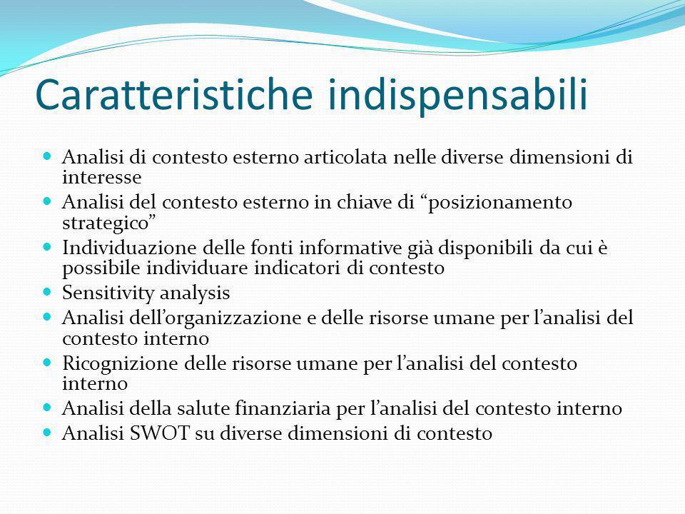 Caratteristiche indispensabili Analisi di contesto esterno articolata nelle diverse dimensioni di interesse Analisi del contesto esterno in chiave di