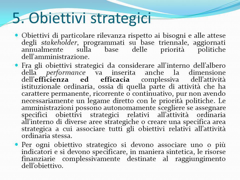 5. Obiettivi strategici Obiettivi di particolare rilevanza rispetto ai bisogni e alle attese degli stakeholder, programmati su base triennale, aggiorn