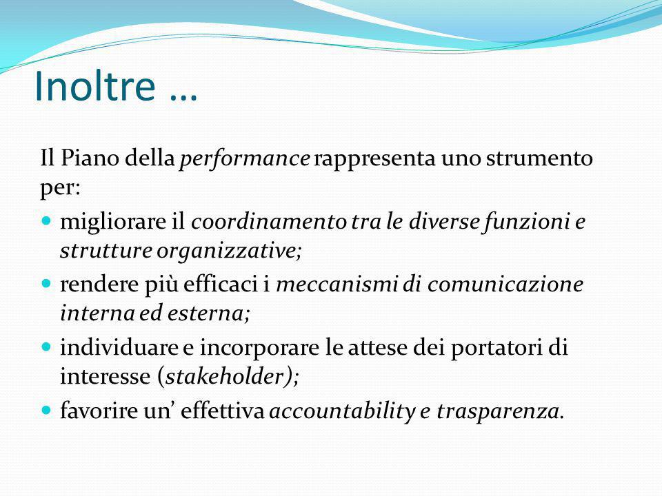Inoltre … Il Piano della performance rappresenta uno strumento per: migliorare il coordinamento tra le diverse funzioni e strutture organizzative; ren