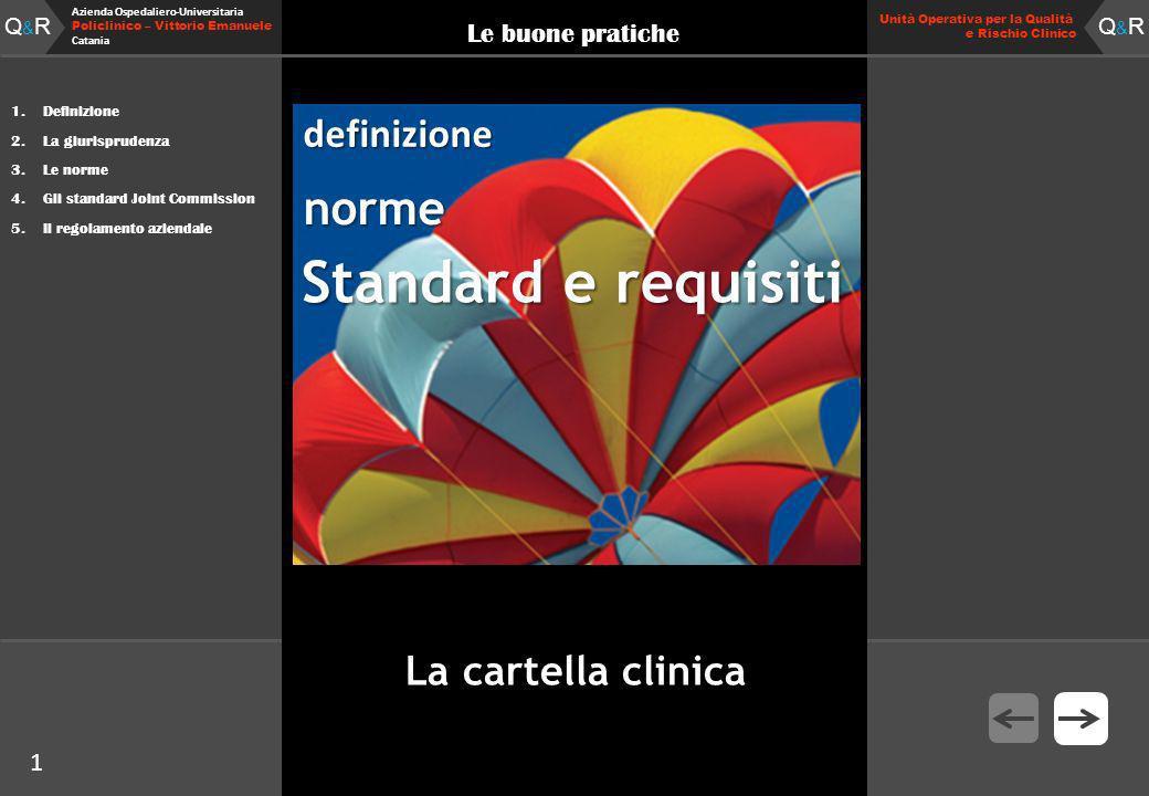 Q&RQ&R Azienda Ospedaliero-Universitaria Policlinico – Vittorio Emanuele Catania Q&RQ&R Unità Operativa per la Qualità e Rischio Clinico 1 Le buone pratiche 1.