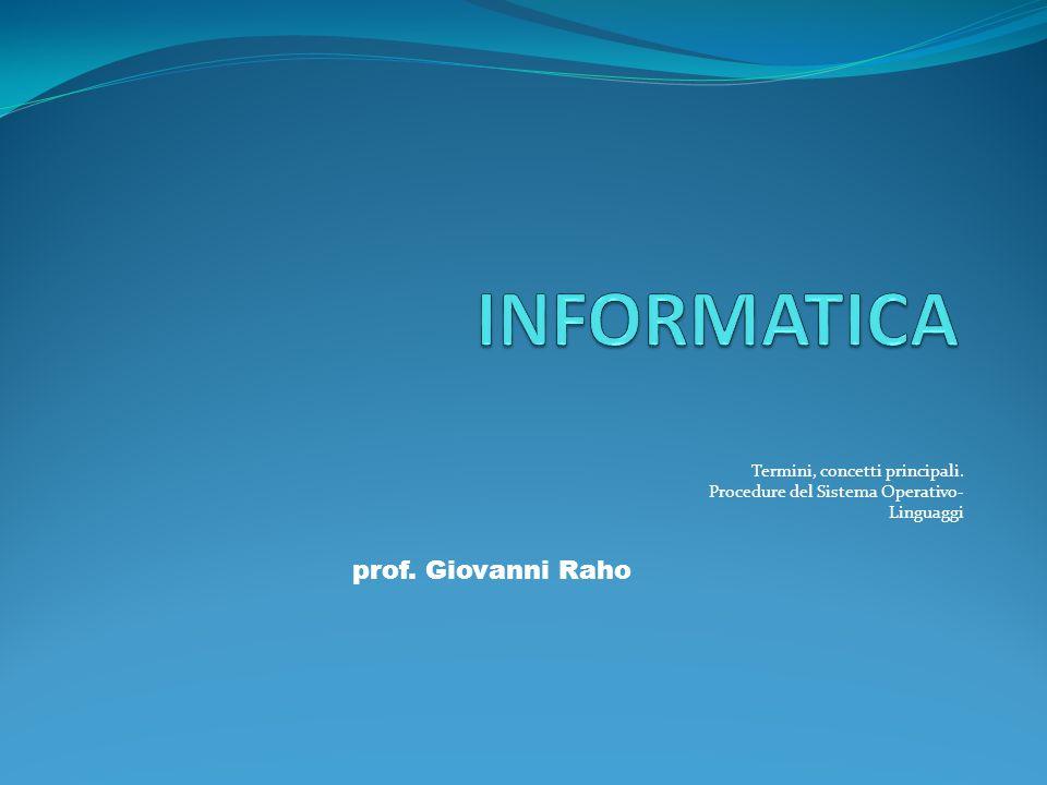 Termini, concetti principali. Procedure del Sistema Operativo- Linguaggi prof. Giovanni Raho