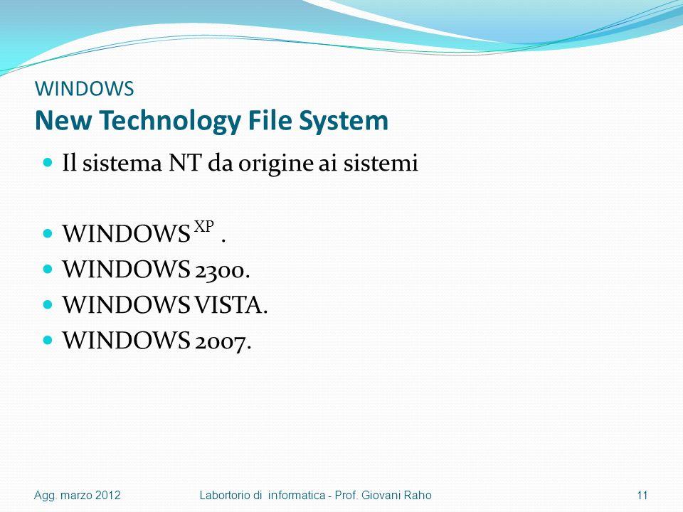 WINDOWS New Technology File System Il sistema NT da origine ai sistemi WINDOWS XP. WINDOWS 2300. WINDOWS VISTA. WINDOWS 2007. Agg. marzo 2012Labortori