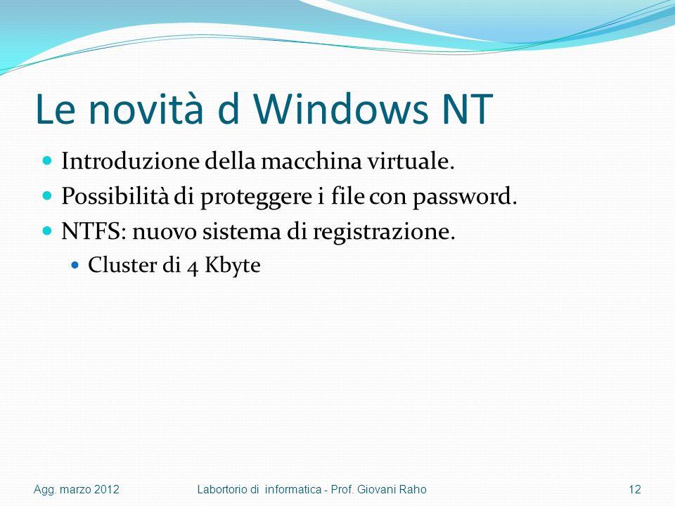 Le novità d Windows NT Introduzione della macchina virtuale. Possibilità di proteggere i file con password. NTFS: nuovo sistema di registrazione. Clus