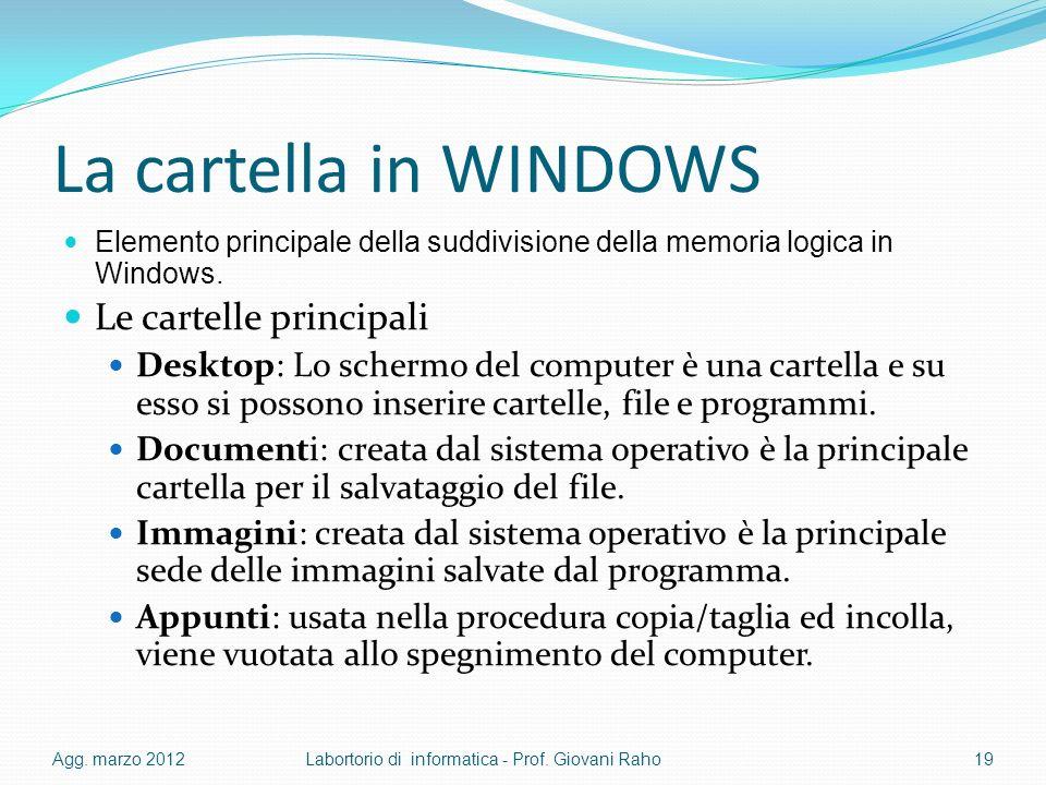 La cartella in WINDOWS Elemento principale della suddivisione della memoria logica in Windows. Le cartelle principali Desktop: Lo schermo del computer