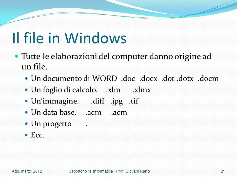 Il file in Windows Tutte le elaborazioni del computer danno origine ad un file. Un documento di WORD.doc.docx.dot.dotx.docm Un foglio di calcolo..xlm.