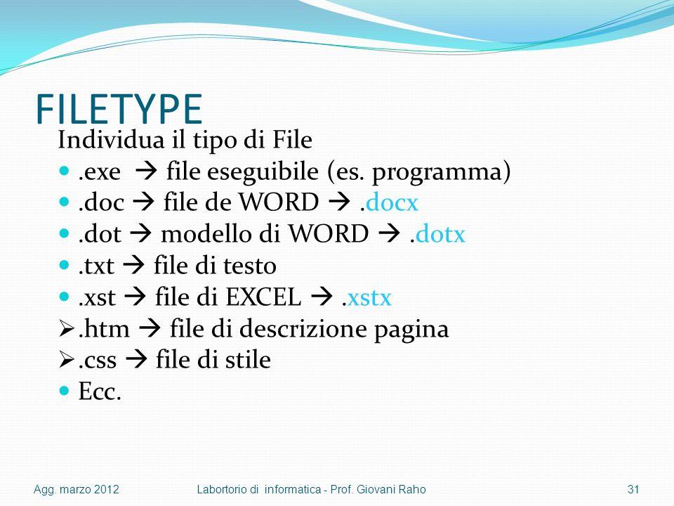 FILETYPE Individua il tipo di File.exe file eseguibile (es. programma).doc file de WORD.docx.dot modello di WORD.dotx.txt file di testo.xst file di EX