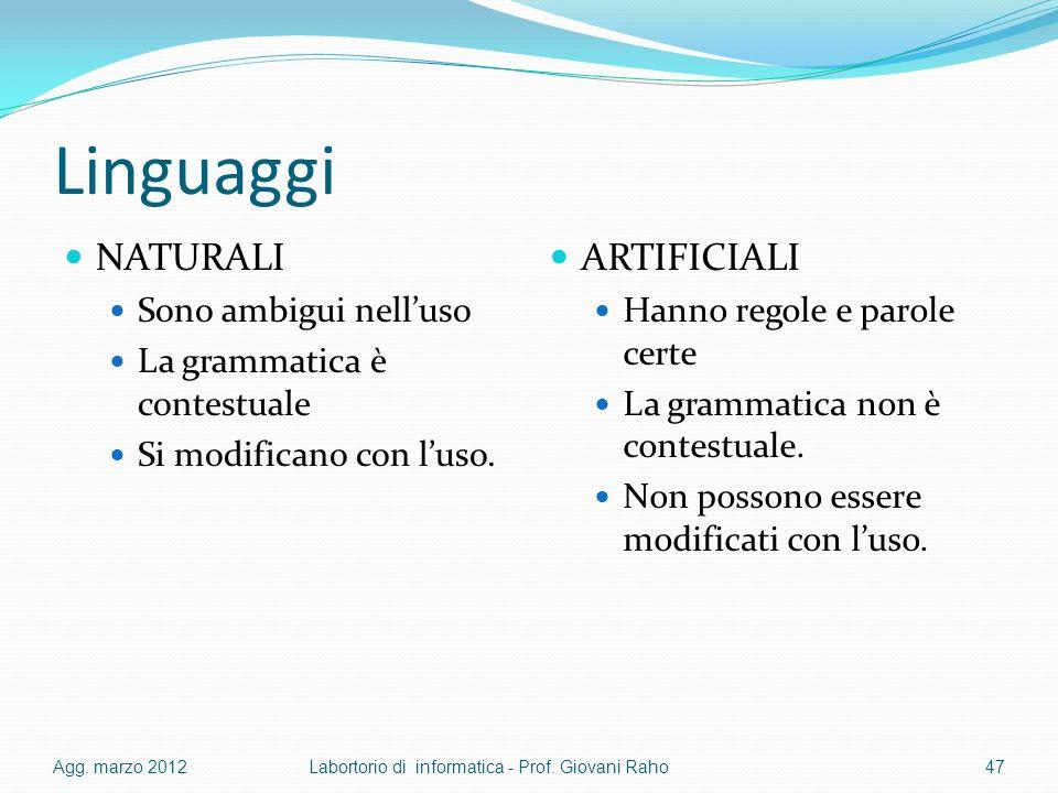 Linguaggi NATURALI Sono ambigui nelluso La grammatica è contestuale Si modificano con luso. ARTIFICIALI Hanno regole e parole certe La grammatica non