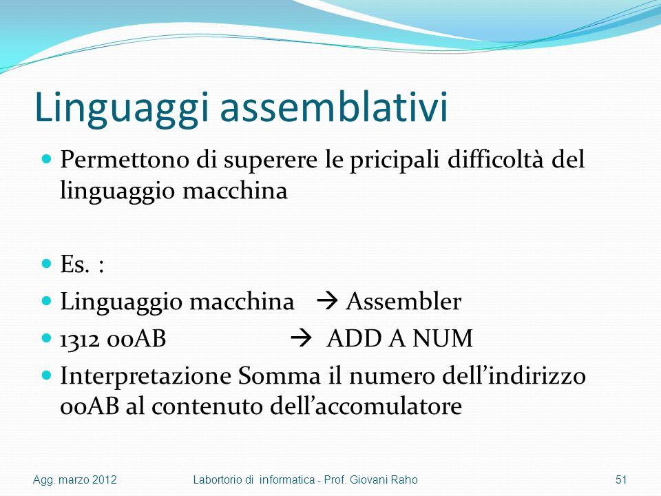 Linguaggi assemblativi Permettono di superere le pricipali difficoltà del linguaggio macchina Es. : Linguaggio macchina Assembler 1312 00AB ADD A NUM