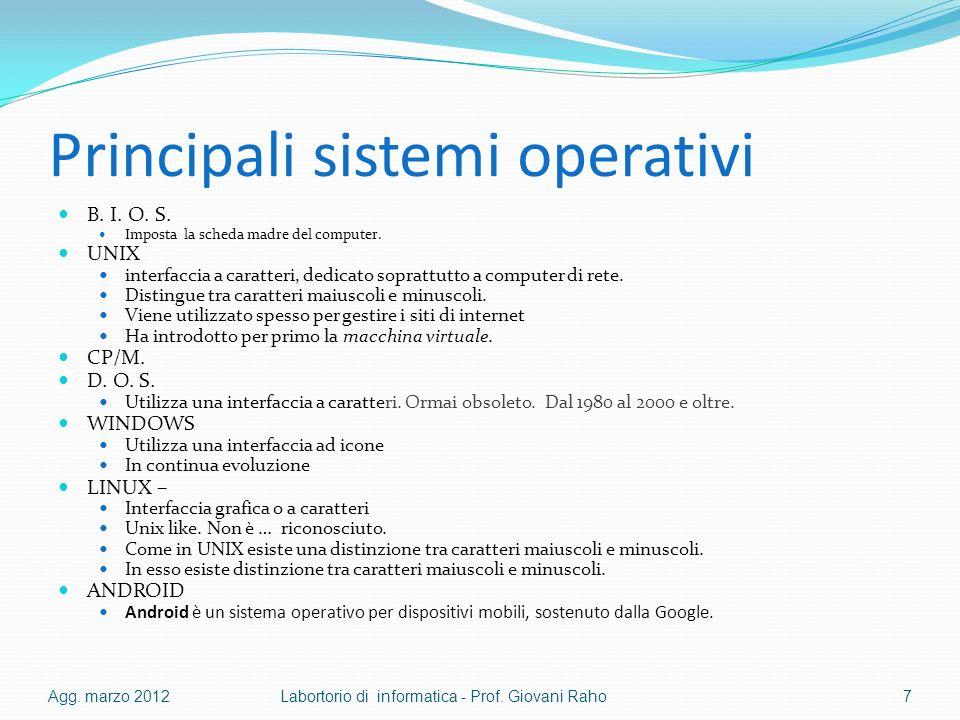 Principali sistemi operativi B. I. O. S. Imposta la scheda madre del computer. UNIX interfaccia a caratteri, dedicato soprattutto a computer di rete.