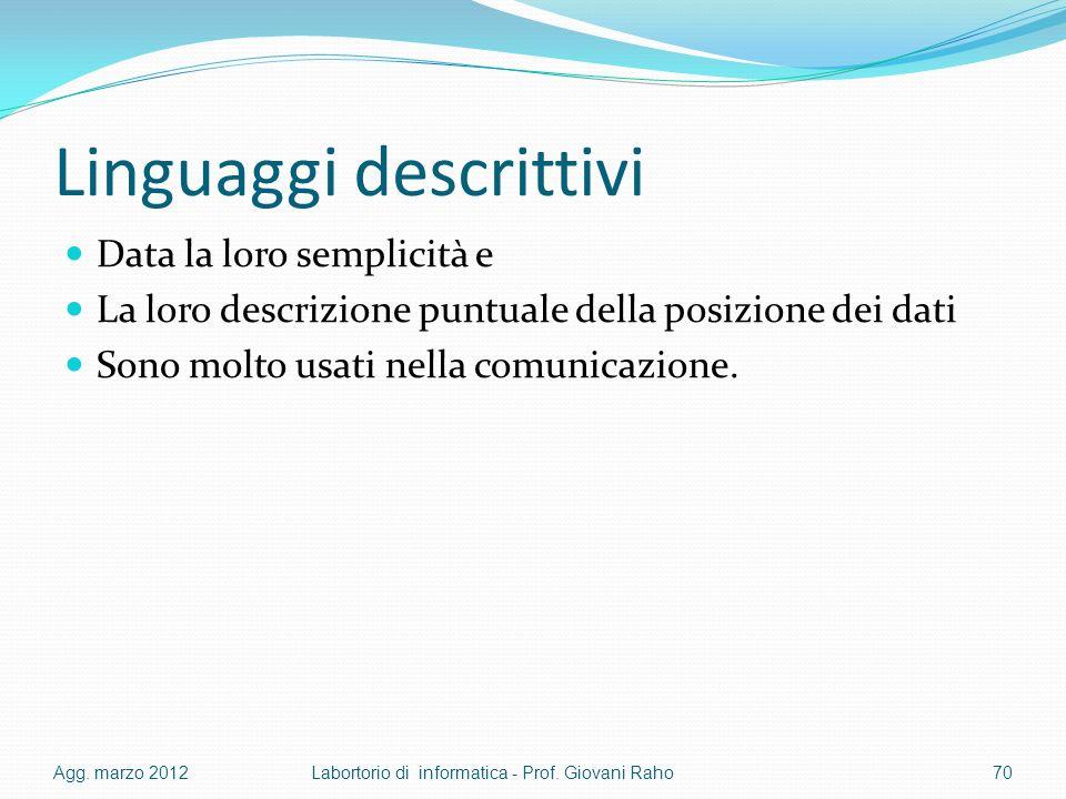 Linguaggi descrittivi Data la loro semplicità e La loro descrizione puntuale della posizione dei dati Sono molto usati nella comunicazione. Agg. marzo