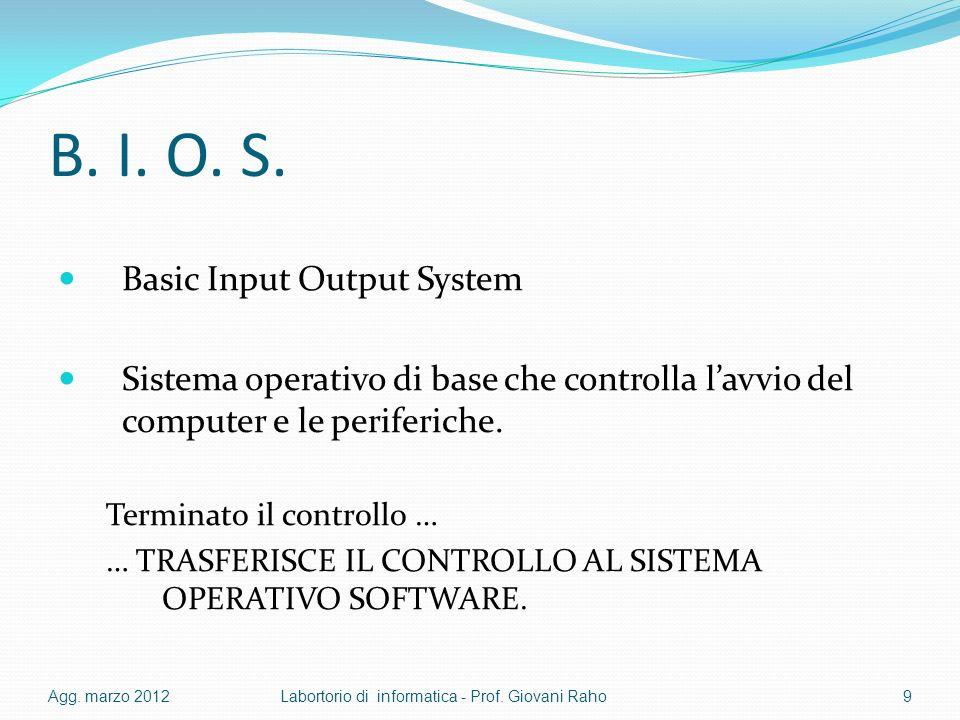 B. I. O. S. Basic Input Output System Sistema operativo di base che controlla lavvio del computer e le periferiche. Terminato il controllo … … TRASFER