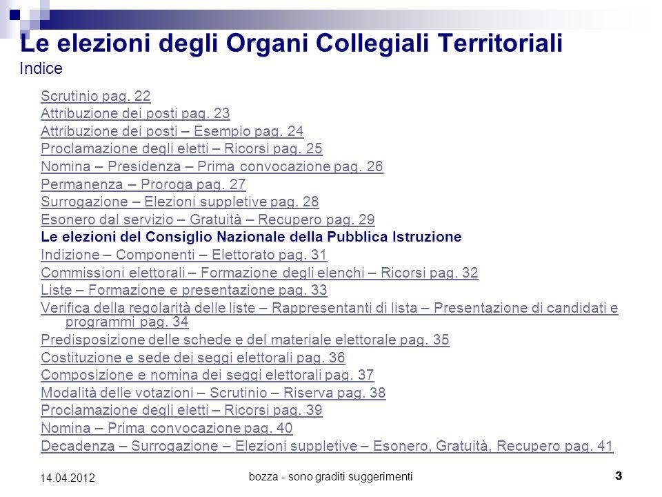 bozza - sono graditi suggerimenti3 14.04.2012 Le elezioni degli Organi Collegiali Territoriali Indice Scrutinio pag.