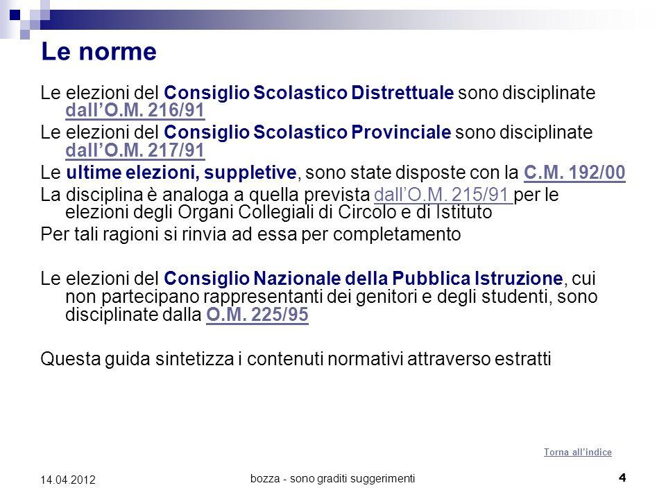 bozza - sono graditi suggerimenti4 14.04.2012 Le norme Le elezioni del Consiglio Scolastico Distrettuale sono disciplinate dallO.M.
