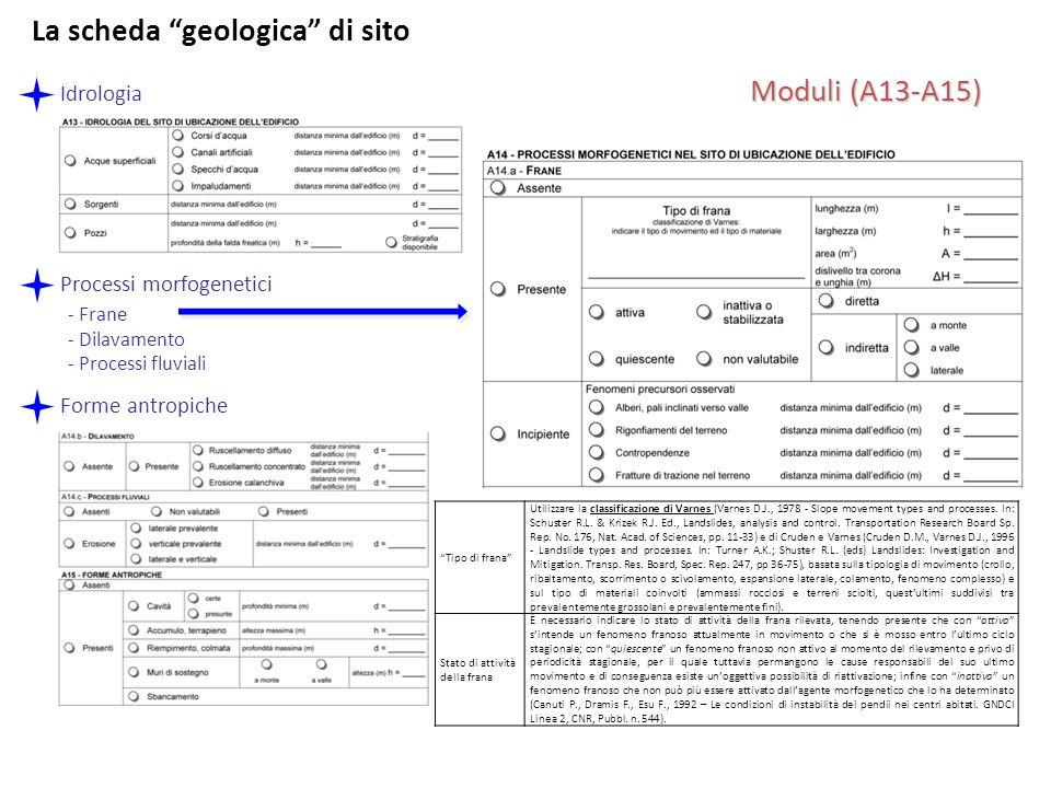 Moduli (A13-A15) Idrologia Processi morfogenetici - Frane - Dilavamento - Processi fluviali Forme antropiche Tipo di frana Utilizzare la classificazio