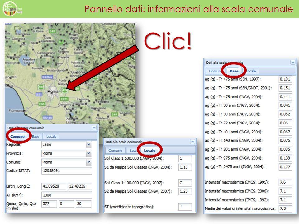 Pannello dati: informazioni alla scala comunale Clic!