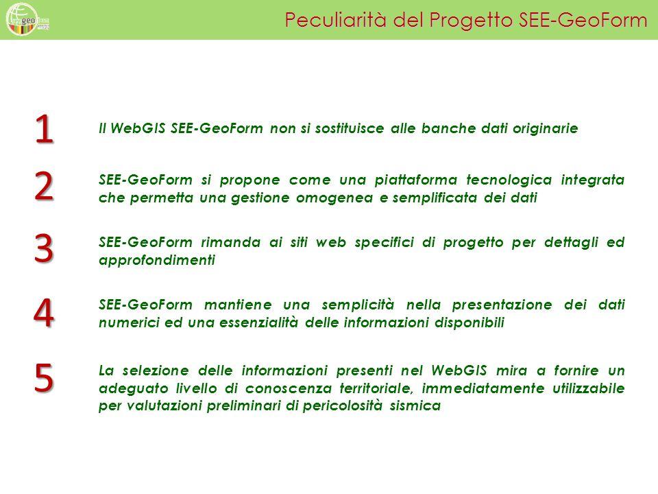 Peculiarità del Progetto SEE-GeoForm Il WebGIS SEE-GeoForm non si sostituisce alle banche dati originarie SEE-GeoForm si propone come una piattaforma
