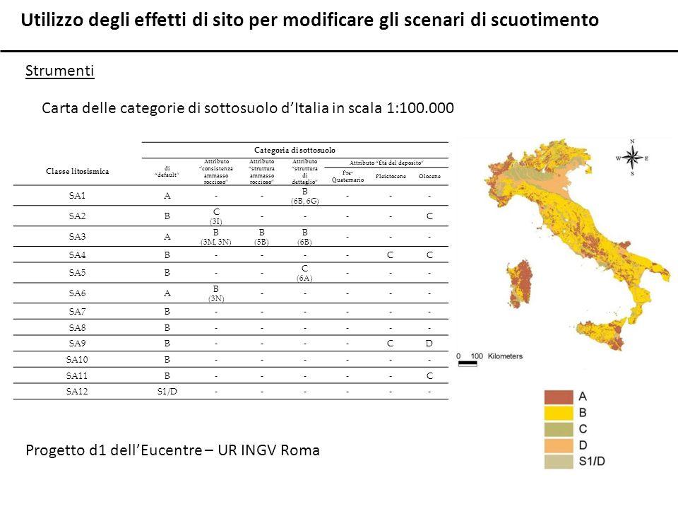 Utilizzo degli effetti di sito per modificare gli scenari di scuotimento Strumenti Carta delle categorie di sottosuolo dItalia in scala 1:100.000 Cate