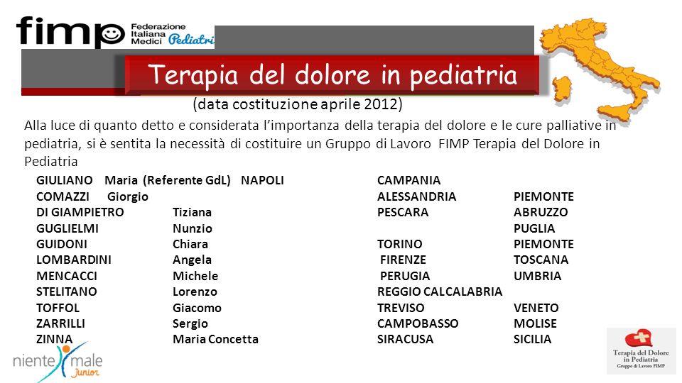 (data costituzione aprile 2012) Terapia del dolore in pediatria GIULIANO Maria (Referente GdL)NAPOLICAMPANIA COMAZZI GiorgioALESSANDRIAPIEMONTE DI GIAMPIETRO Tiziana PESCARAABRUZZO GUGLIELMINunzioPUGLIA GUIDONIChiara TORINOPIEMONTE LOMBARDINI Angela FIRENZETOSCANA MENCACCI Michele PERUGIAUMBRIA STELITANOLorenzo REGGIO CALCALABRIA TOFFOL Giacomo TREVISOVENETO ZARRILLISergio CAMPOBASSOMOLISE ZINNA Maria Concetta SIRACUSASICILIA Alla luce di quanto detto e considerata limportanza della terapia del dolore e le cure palliative in pediatria, si è sentita la necessità di costituire un Gruppo di Lavoro FIMP Terapia del Dolore in Pediatria