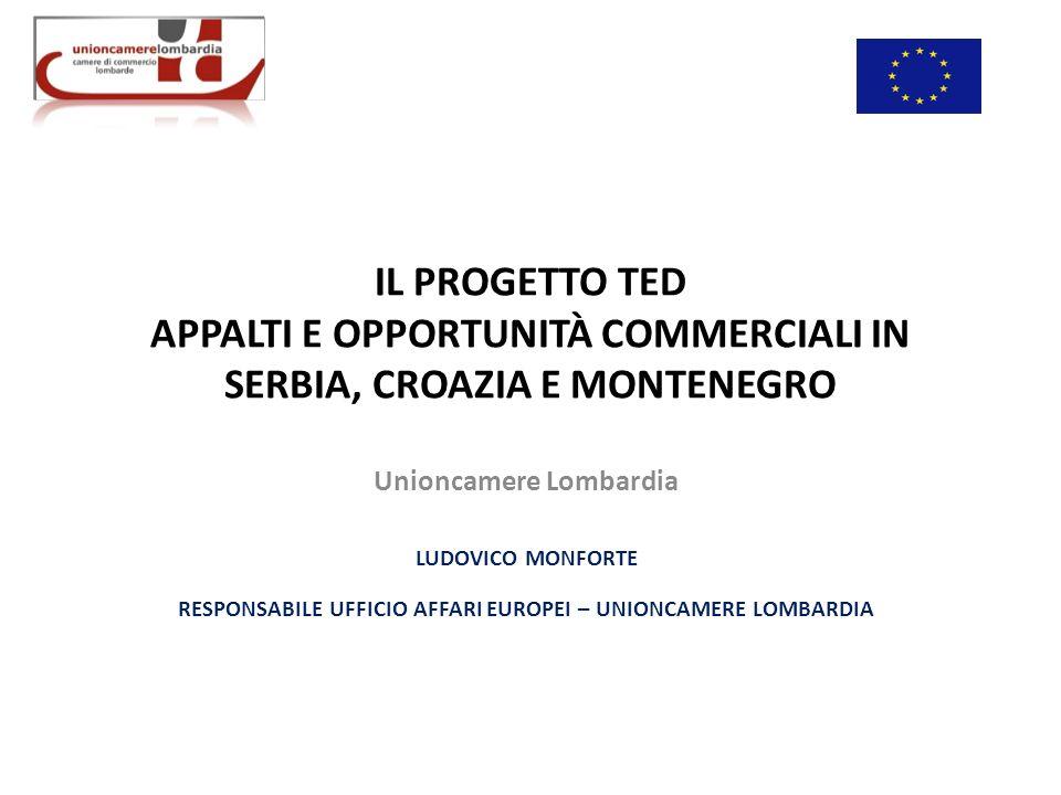 IL PROGETTO TED APPALTI E OPPORTUNITÀ COMMERCIALI IN SERBIA, CROAZIA E MONTENEGRO Unioncamere Lombardia LUDOVICO MONFORTE RESPONSABILE UFFICIO AFFARI EUROPEI – UNIONCAMERE LOMBARDIA