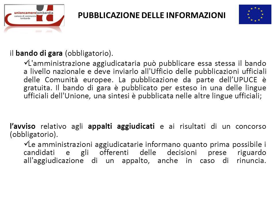 PUBBLICAZIONE DELLE INFORMAZIONI il bando di gara (obbligatorio).
