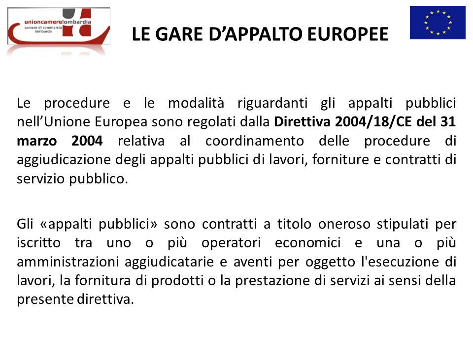 LE GARE DAPPALTO EUROPEE Le procedure e le modalità riguardanti gli appalti pubblici nellUnione Europea sono regolati dalla Direttiva 2004/18/CE del 31 marzo 2004 relativa al coordinamento delle procedure di aggiudicazione degli appalti pubblici di lavori, forniture e contratti di servizio pubblico.
