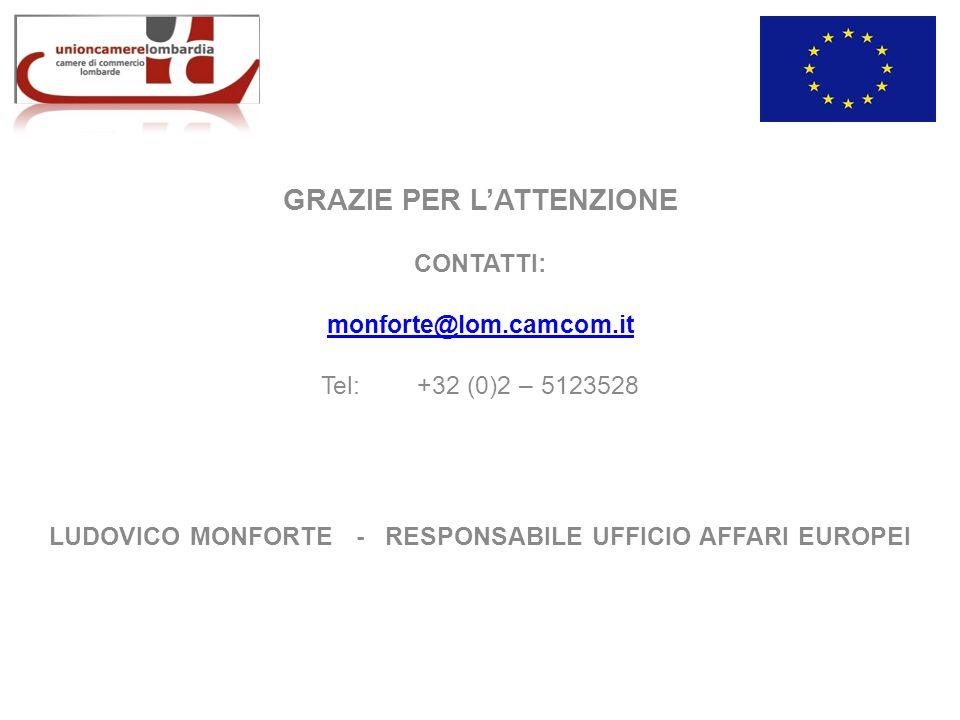 GRAZIE PER LATTENZIONE CONTATTI: monforte@lom.camcom.it Tel:+32 (0)2 – 5123528 LUDOVICO MONFORTE - RESPONSABILE UFFICIO AFFARI EUROPEI