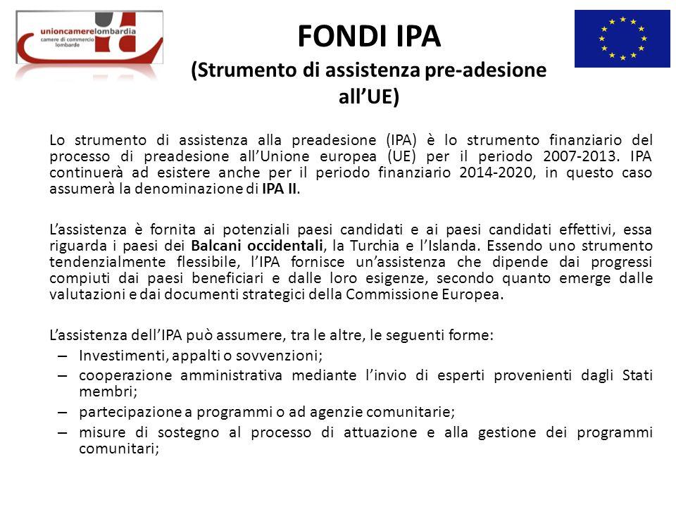 FONDI IPA (Strumento di assistenza pre-adesione allUE) Lo strumento di assistenza alla preadesione (IPA) è lo strumento finanziario del processo di preadesione allUnione europea (UE) per il periodo 2007-2013.