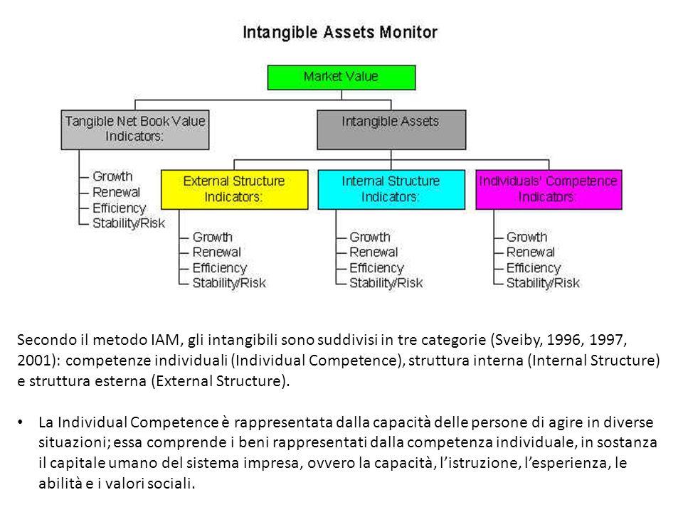 Secondo il metodo IAM, gli intangibili sono suddivisi in tre categorie (Sveiby, 1996, 1997, 2001): competenze individuali (Individual Competence), str