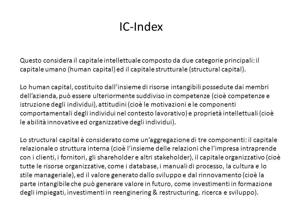 Questo considera il capitale intellettuale composto da due categorie principali: il capitale umano (human capital) ed il capitale strutturale (structu