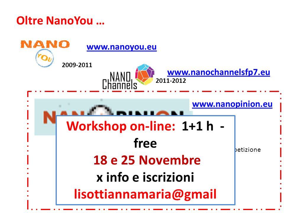 2012-2014 www.nanopinion.eu MoodleNuovi EsperimentiCompetizione 2009-2011 www.nanoyou.eu 2011-2012 www.nanochannelsfp7.eu Oltre NanoYou … Workshop on-line: 1+1 h - free 18 e 25 Novembre x info e iscrizioni lisottiannamaria@gmail