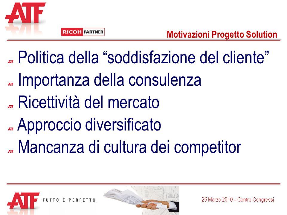 Motivazioni Progetto Solution 26 Marzo 2010 – Centro Congressi Politica della soddisfazione del cliente Importanza della consulenza Ricettività del me