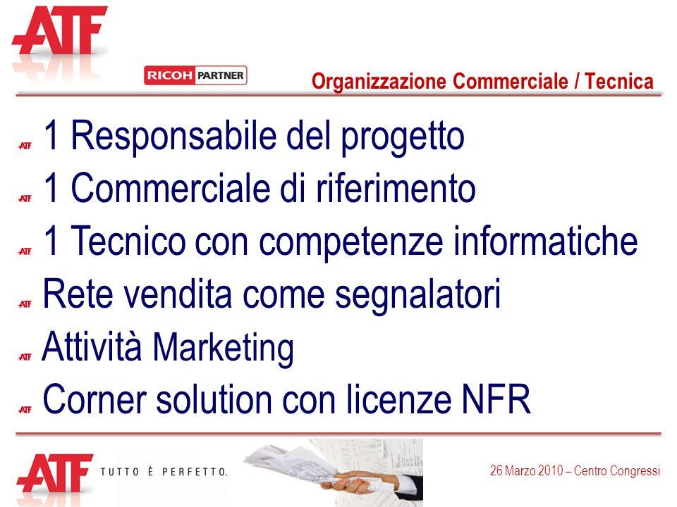 Organizzazione Commerciale / Tecnica 26 Marzo 2010 – Centro Congressi 1 Responsabile del progetto 1 Commerciale di riferimento Rete vendita come segna