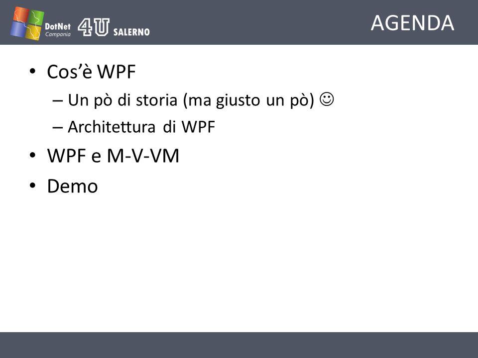 AGENDA Cosè WPF – Un pò di storia (ma giusto un pò) – Architettura di WPF WPF e M-V-VM Demo