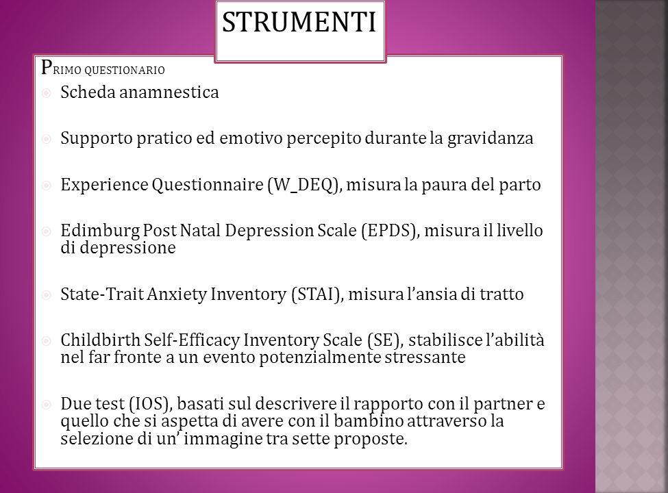 P RIMO QUESTIONARIO Scheda anamnestica Supporto pratico ed emotivo percepito durante la gravidanza Experience Questionnaire (W_DEQ), misura la paura d