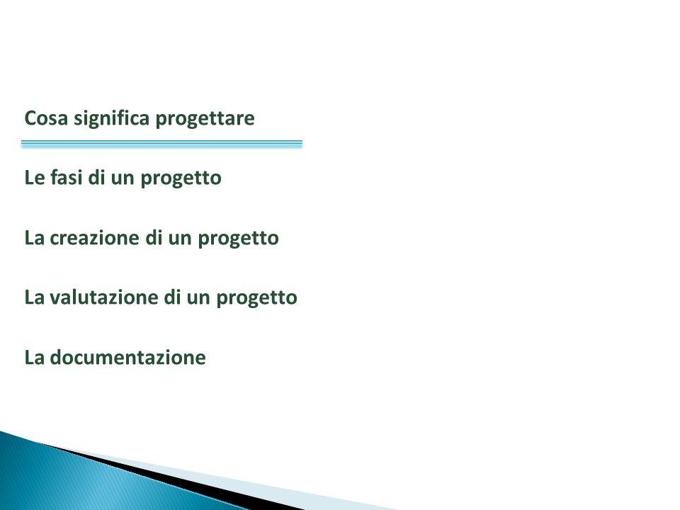Cosa significa progettare Le fasi di un progetto La creazione di un progetto La valutazione di un progetto La documentazione