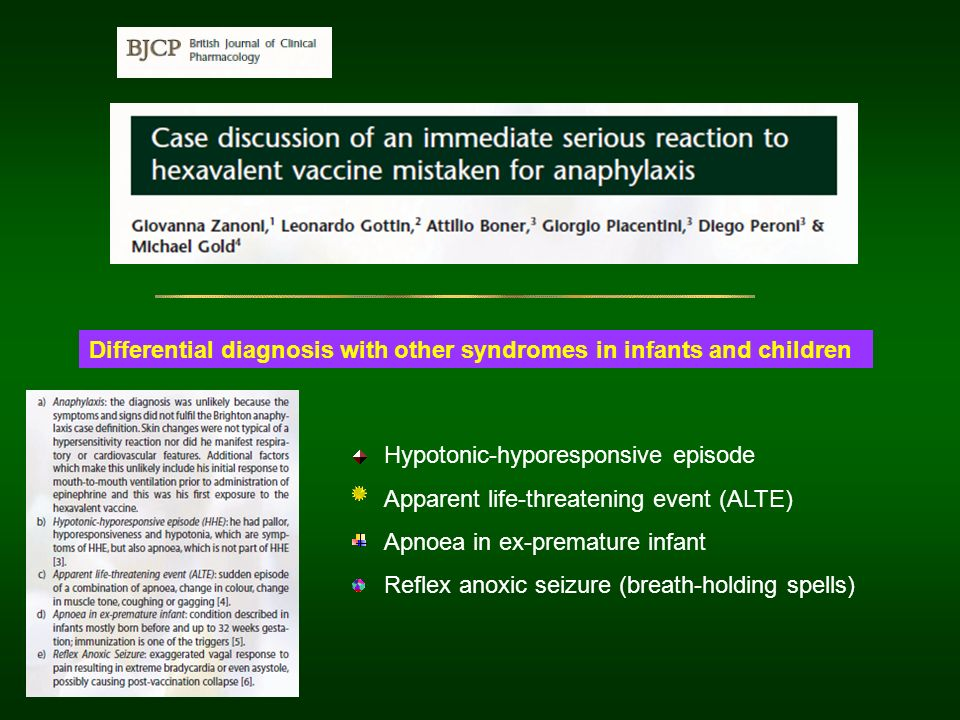 Differential diagnosis with other syndromes in infants and children Hypotonic-hyporesponsive episode Apparent life-threatening event (ALTE) Apnoea in